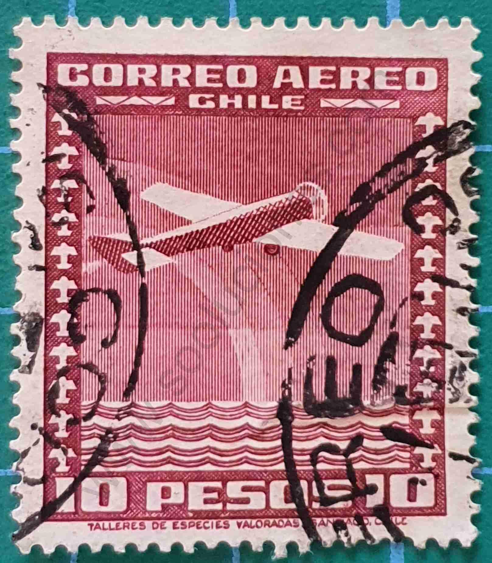 Aeroplano con Arco iris - Sello Chile 1934