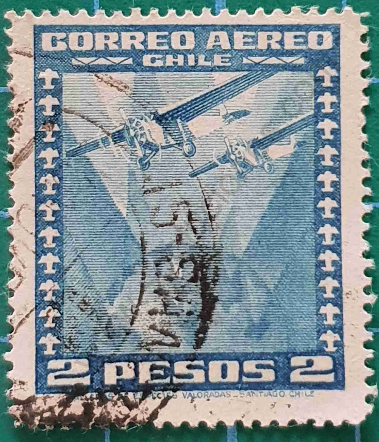 Aviones sobre globo terráqueo - Sello Chile 1944