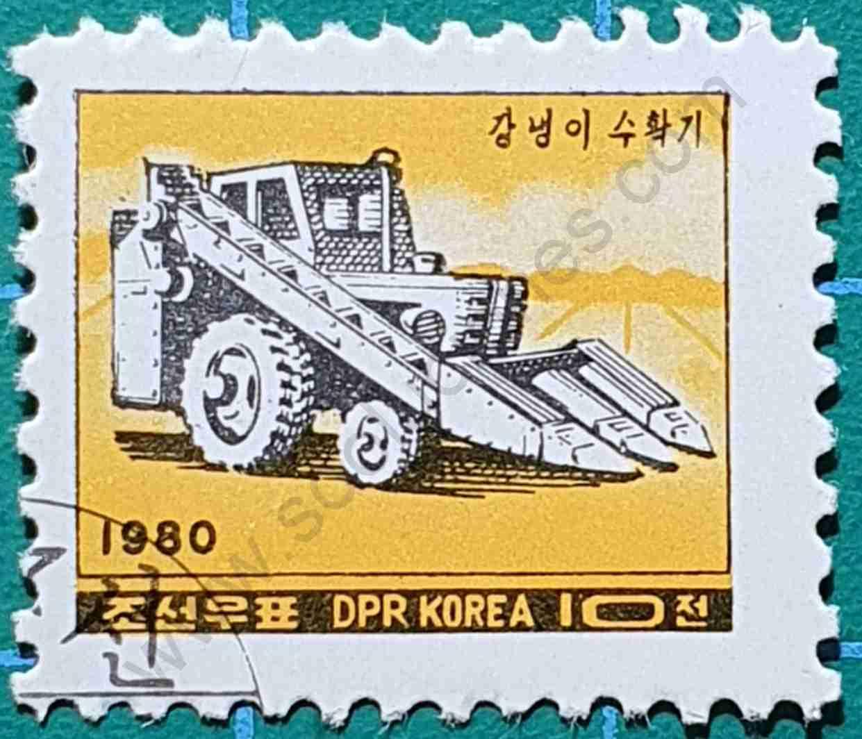 Recolectora de maíz - sello Corea del Norte 1980