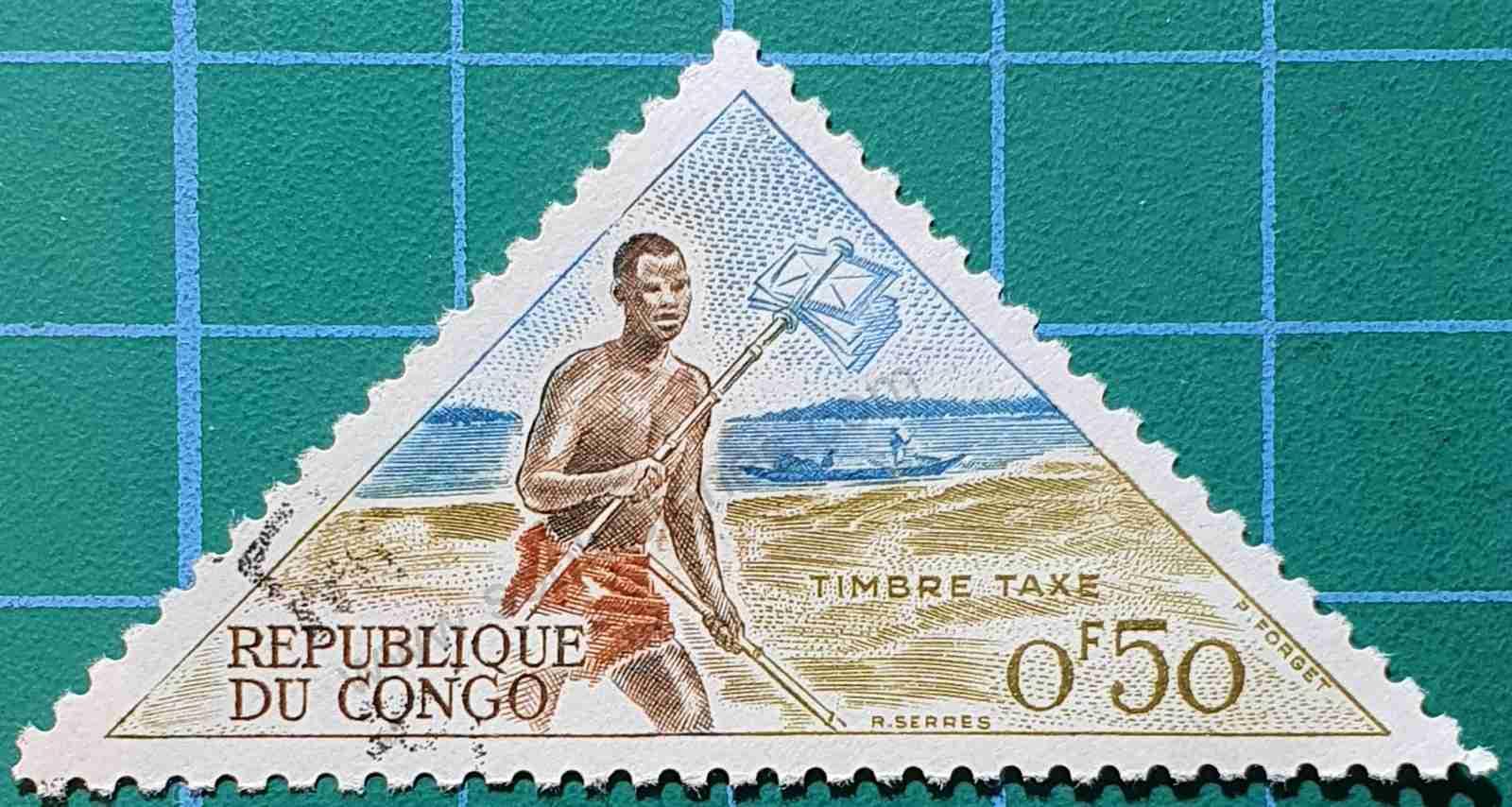 Cartero a pie - sello República del Congo 1961