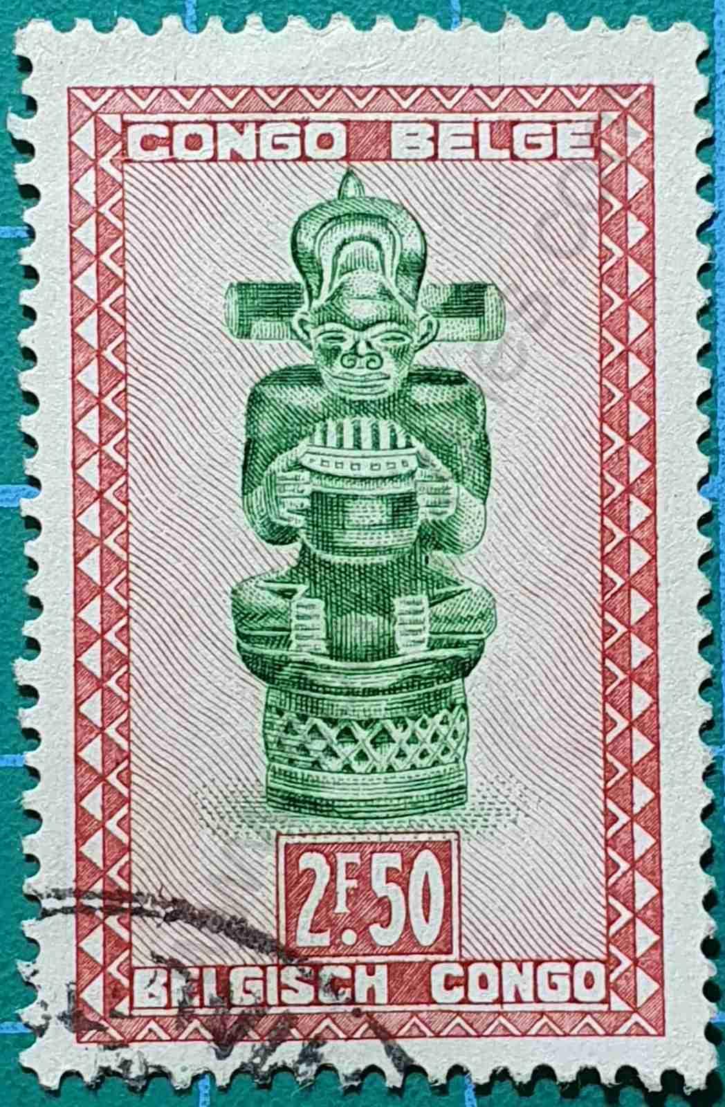Ídolo Tshimanyi - sello del Congo Belga 1947