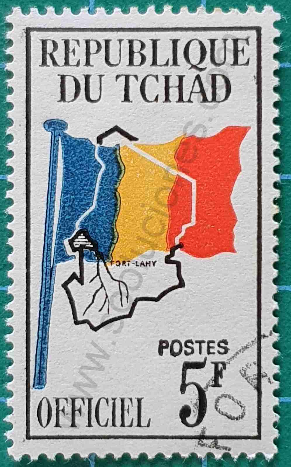 Bandera y mapa 5 FCFA - sello Chad 1966